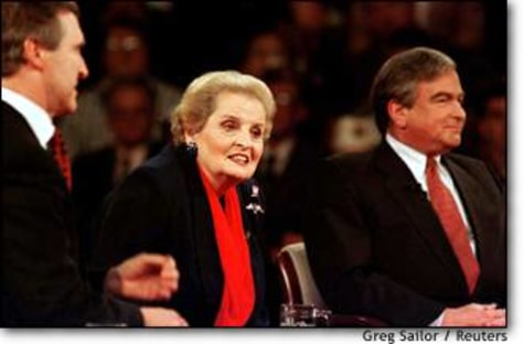 Image: Secretary Albright Answers Question During Town Meeting On Iraq