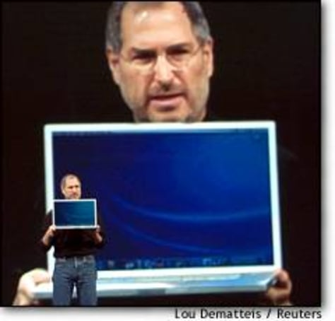 Image: Apple Ceo Jobs Holds New 17 Inch Laptop Computer
