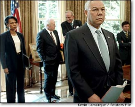 Image: Colin Powell Watches As Bush Meets With Portugues Prime Minister At Oval Office
