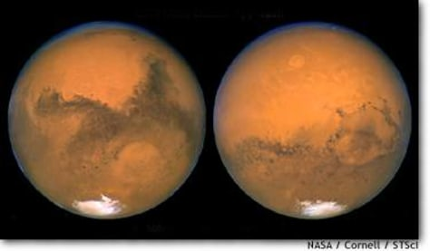 Image: Two views of Mars