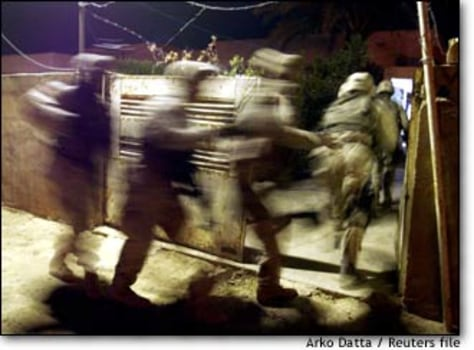 Image: Us Soldiers During Late Night Hunt For Saddam Loyalists  On Outsikirts Of Tikrit