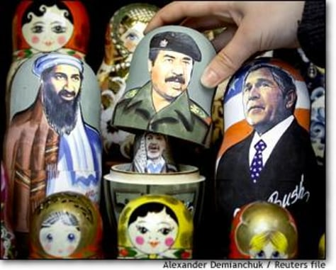 Image: Russian Matryoshka Dolls With Portraits Of Bush And Hussein, Bin Laden And Arafat On Display In St.petersburg