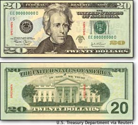 Image: Treasury Department Handout Of New $20 Bill