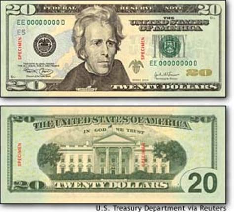 Image: Treasury Department Handout Of New $20 Bill