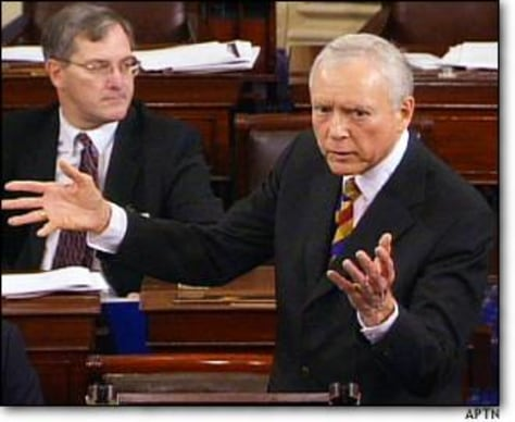 Image: Senator Hatch speaks in Senate talkathon