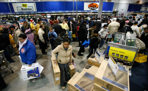 Shoppers fill a Best Buy store in Chicago