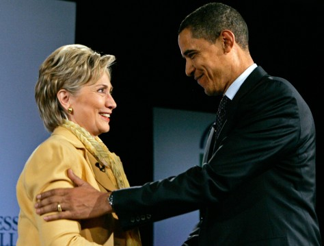 Image: Clinton and Obama at faith forum