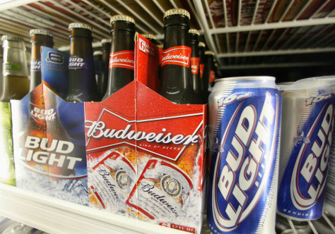 Image: Bud Light and Budweiser beer is shown in a cooler