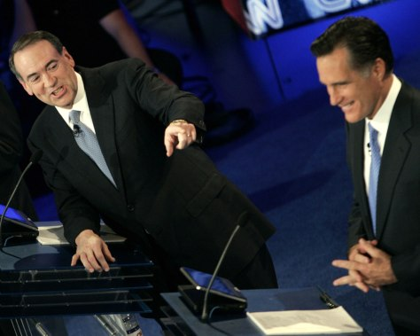 Image: Mike Huckabee and Mitt Romney