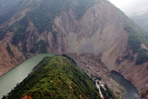 Image: A lake formed by a landslide following the earthquake in China