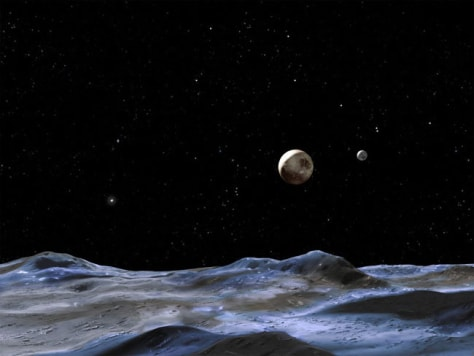 Image: The artist's concept gives a view of the Pluto system from the surface of Nix or Hydra, two of its moons discovered in 2005.