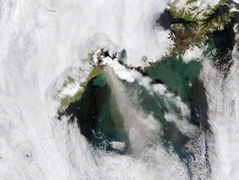 Image: Okmok Caldera erupting on Umnak Island in Alaska