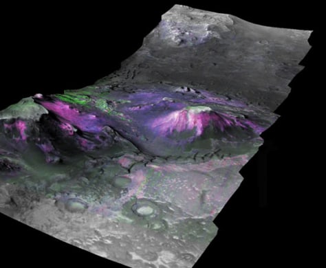 Image: 3D image of a trough in the Nili Fossae region of Mars, which had expansive outcrops of phyllosilicates.