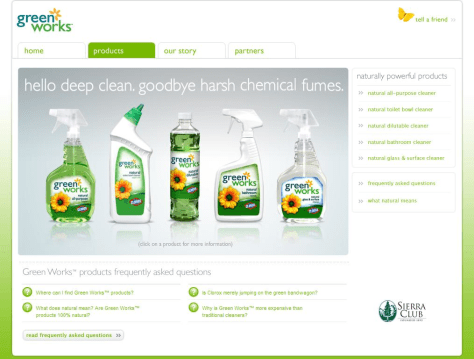 IMAGE: CLOROX WEB SITE WITH SIERRA CLUB LOGO
