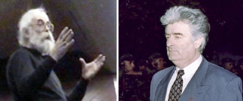 Image: A combination photo shows Bosnian Serb wartime leader and indicted war crimes suspect Radovan Karadzic