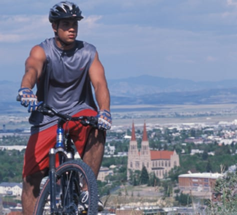 Image: Mountain biker in Helena, Mont.