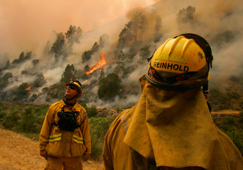 Image: Firefighters watch Yosemite blaze
