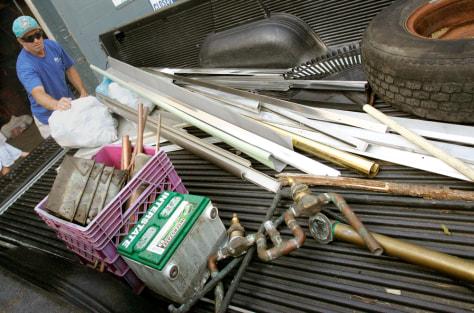 Image: David Trombley brings scrapmetal for recycling