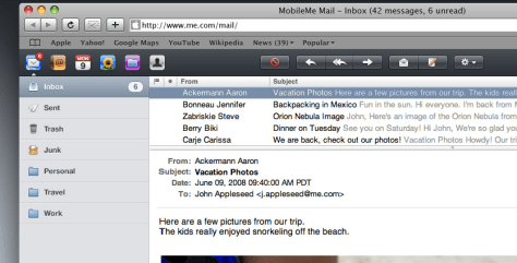 Image: Screenshot of Apple's MobileMe e-mail program
