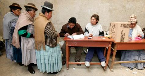 Image: Aymara women cast their ballots