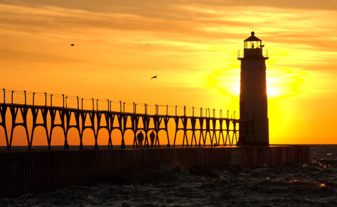 Image: North Manistee Lighthouse pier in Manistee, Mich.