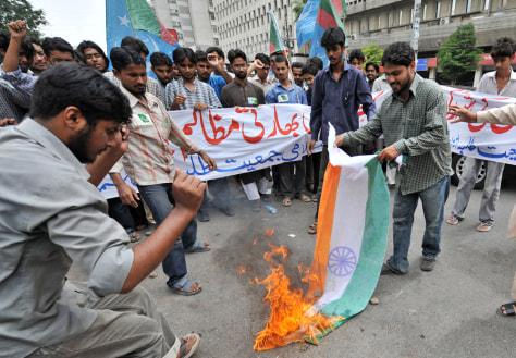 Image: Indian flag burning