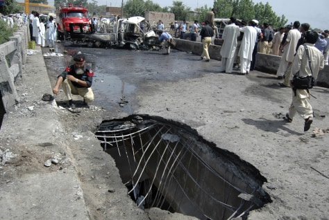 Image: Hole caused by bomb blast