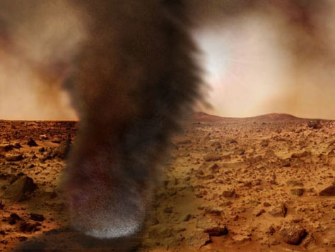 Image: An artist's concept illustrating what an electrified Martian dust devil might look like.