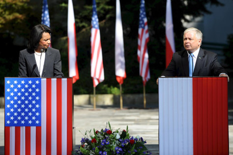 Image: Secretary of State Condoleezza Rice with Polish President Lech Kaczynski