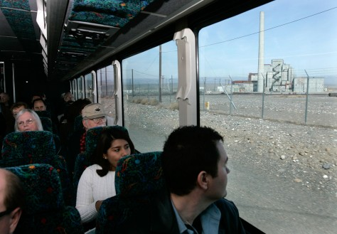 Image: Tourists on bus at the Hanford nuclear reservation