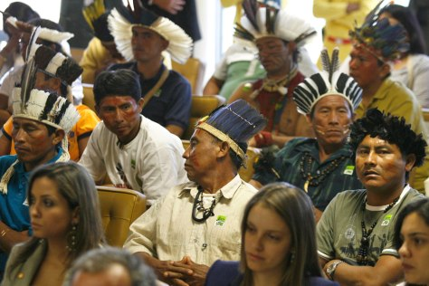 Image: Members of several ethnic groups attend on the Raposa Serra do Sol reserve at Brazil's Supreme Court in Brasilia