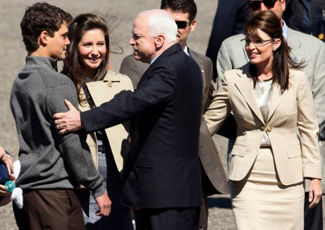 Image: John McCain, Levi Johnston, Bristol Palin, and Sarah Palin