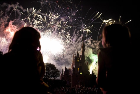 Image: Children watch the fireworks display, Disney World's Magic Kingdom