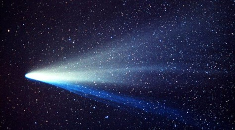 Image: The picture shows the two distinct tails. The thin blue ion tail is made up of gases, while the broad white tail is made up of tiny dust particles.