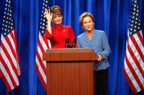 Image: Tina Fey and Amy Poehler as Sarah Palin and Hillary Clinton