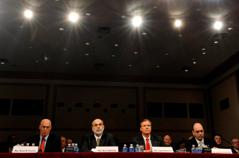 Image: Paulson, Bernake and Cox testify on federal bailout plan
