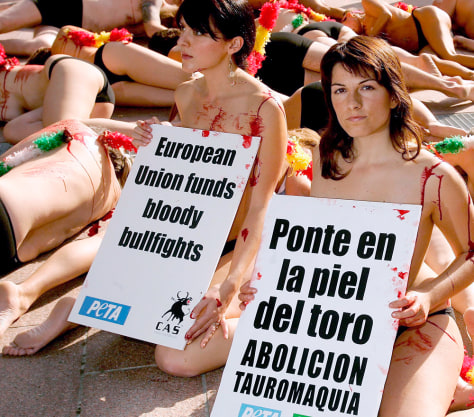 Image: Anti-bullfighting protest
