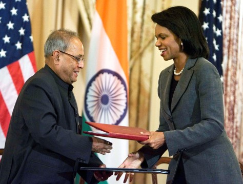 Image: Condoleezza Rice and Pranab Mukherjee