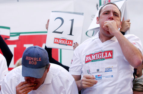 Image: Pizza Eating Contest Held In Times Square