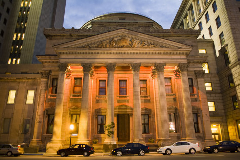 Image: Bank of Montreal on the Place D'Armes at dusk