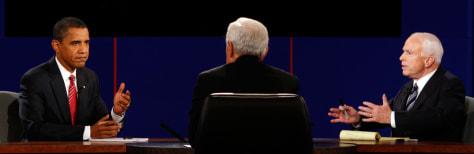 Image: John McCain, Barack Obama, Bob Schieffer