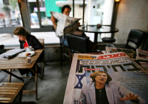 IMAGE: Tzipi Livni on front page of newspaper