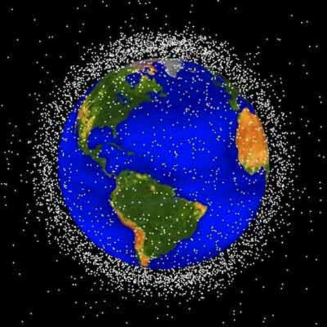 Image: Artist's rendition of space junk surrounding the Earth