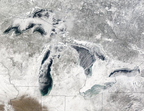 Image: Satellite view of ice and snow on and around Great Lakes.