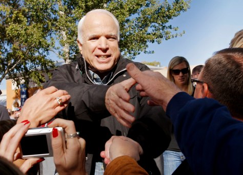 U.S. Republican presidential nominee Senator John McCain (R-AZ) greets supporters at a campaign rally in Albuquerque