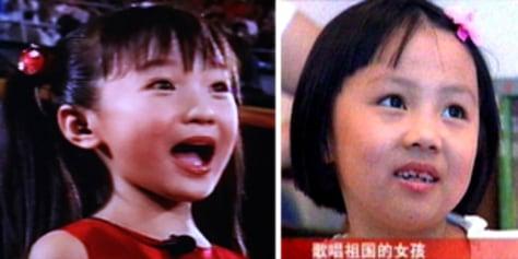 Image: Lin Miaoke, left, Yang Peiyi, right