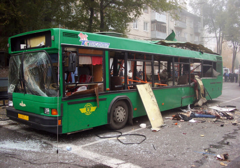 Image: Bus damaged by an explosion