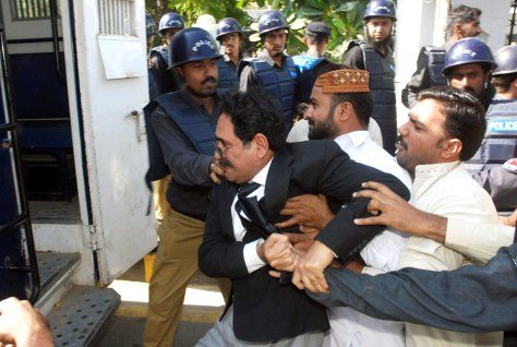 IMAGE: Pakistani police, lawyers clash