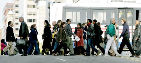 Image: Pedestrians cross street