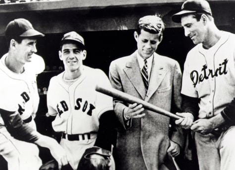 Image: John F. Kennedy, Ted Williams, Eddie Pellagrini, Hank Greenberg.